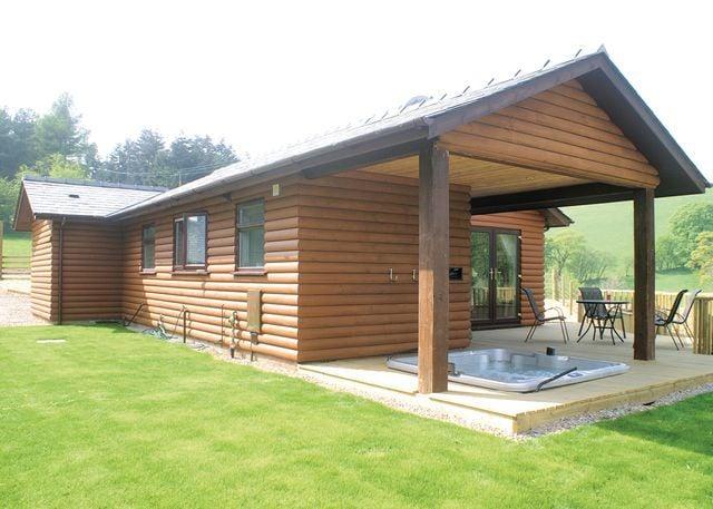 Typical Bleddfa Lodge and hot tub