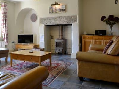 Cosy living room with woodburner | Briardene, Bewerley near Pateley Bridge