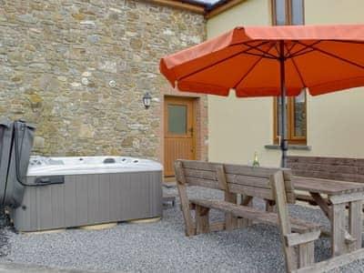 Hot tub and sitting out area   Bwthyn Y Mynach, Nantgaredig, near Carmarthen