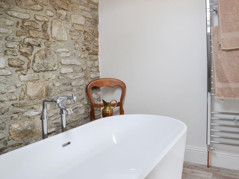 Wonderful standalone bath and heated towel rail | Eastcroft Cottage, Eastcroft, near Stanhope