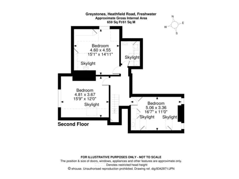 Floor plan of second floor | Greystones, Freshwater