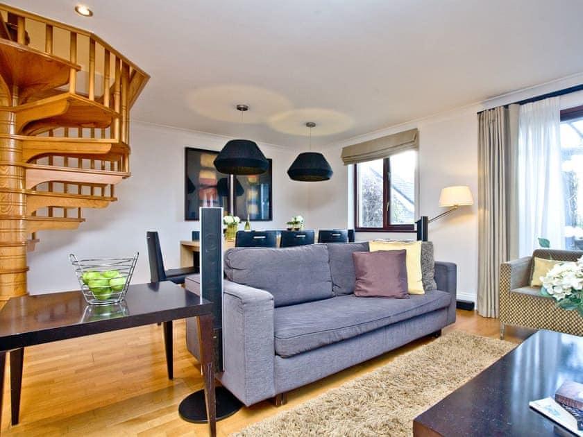 Cosy and comfortable living area with staircase | Honeysuckle, Woodland Retreat - Woodland Retreat, Wadebridge