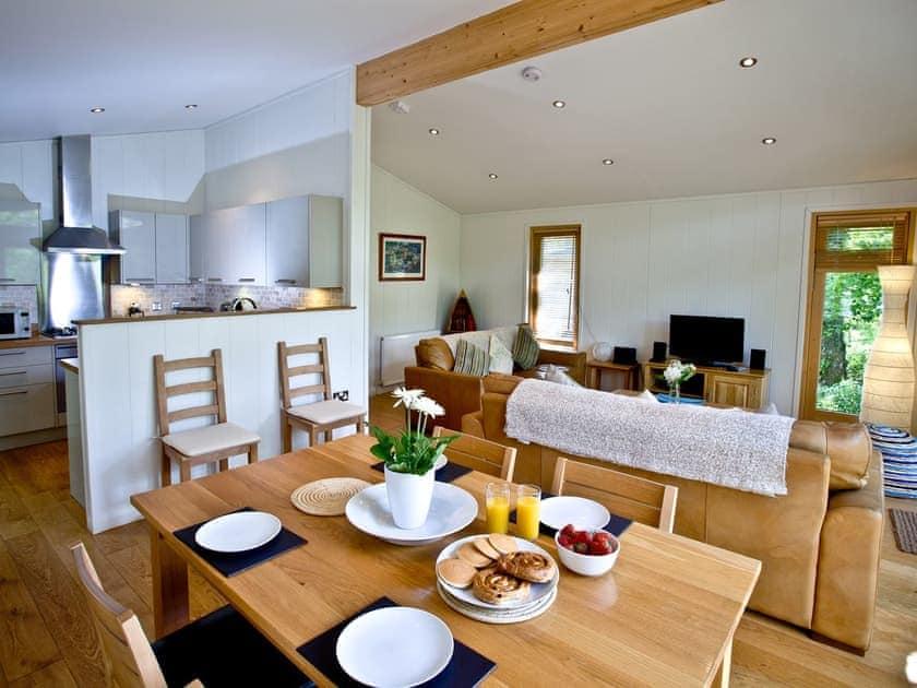 Lovely dining area and adjacent kitchen | Haytor Lodge, 9 Indio Lake - Indio Lake, Bovey Tracey