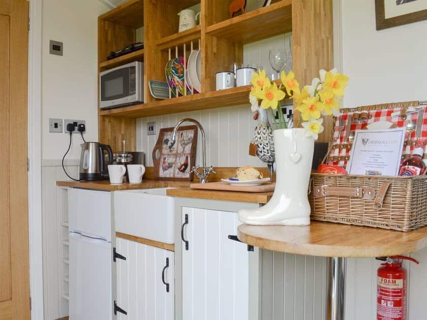 Hand made unique kitchen area | Greengill Farm Shepherds Hut - Greengill, Greengill, near Cockermouth