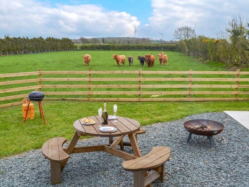 Charming sitting out area with wonderful views | Greengill Farm Shepherds Hut - Greengill, Greengill, near Cockermouth