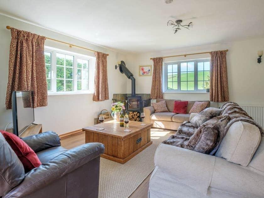 Delightful living room with wood burner   Rowborough Cottage - Cheverton Farm, Shorwell