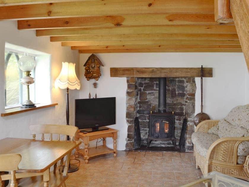 Charming living/ dining room with wood burner | Snow White's House - Coynant Farm, Felindre, near Swansea