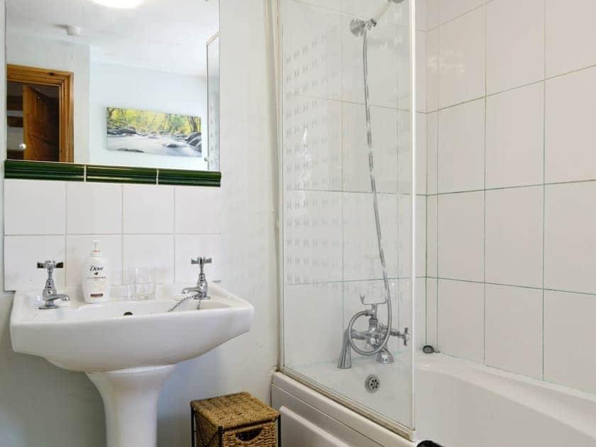 Bathroom with shower over bath | Coynant Farm Cottages - Barn Cottage - Coynant Farm, Felindre, near Swansea