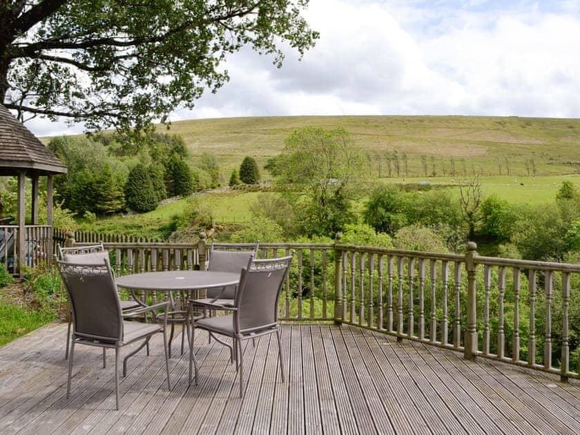 Decked area with outdoor furniture | Coynant Farm Cottages - Barn Cottage - Coynant Farm, Felindre, near Swansea