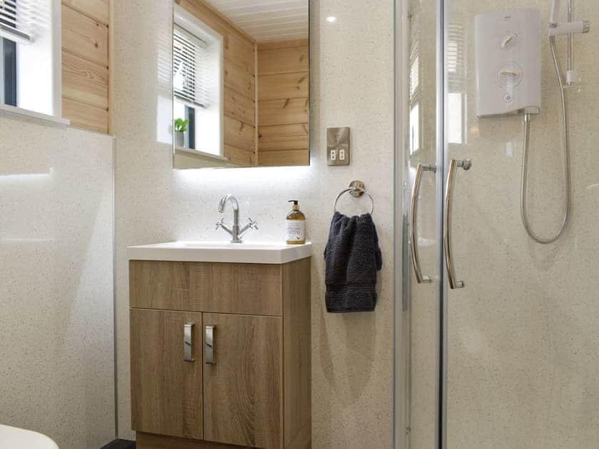 Shower room   Poppy - Buckland Farm Log Cabins, Buckland St Mary, near Taunton