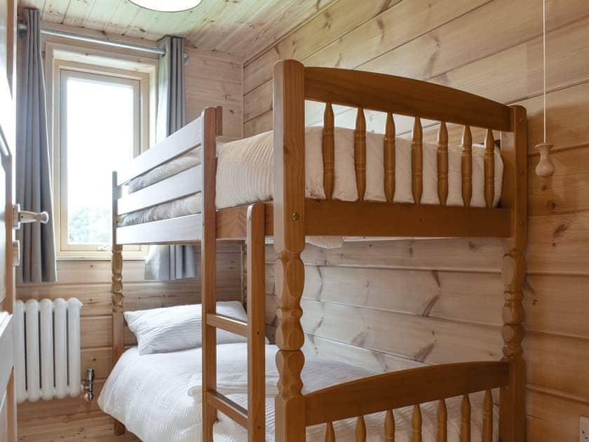 Comfortable bunk bedroom   Poppy - Buckland Farm Log Cabins, Buckland St Mary, near Taunton