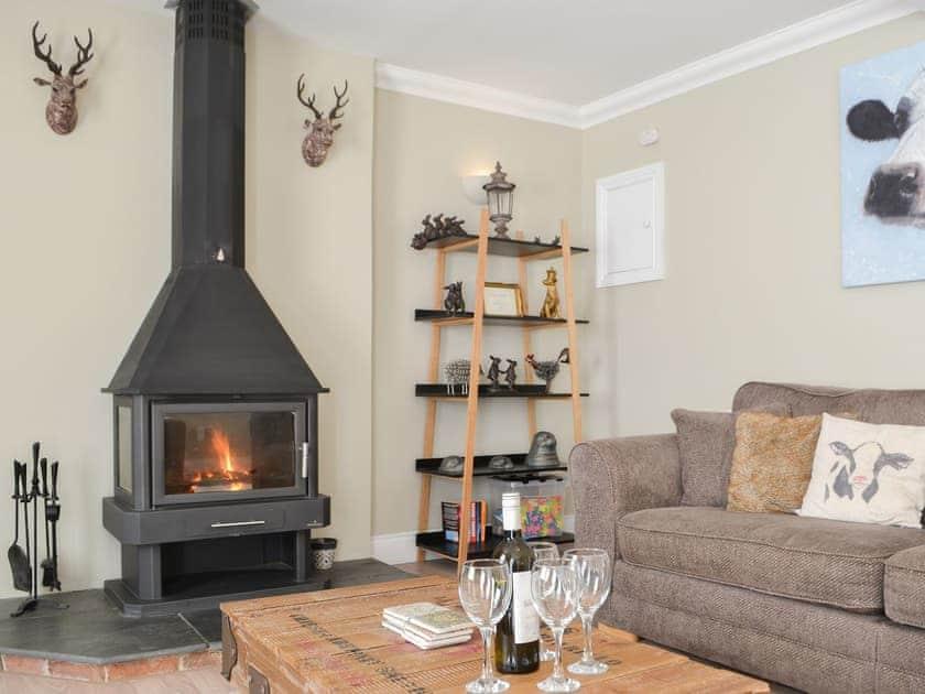 Living room with cosy wood burner | Red Hen Cottage, Acklington