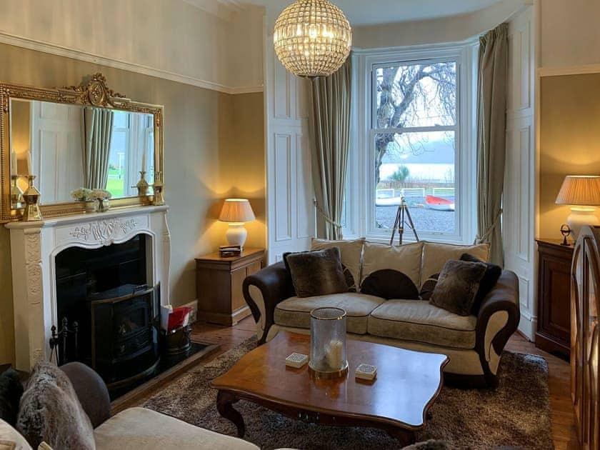 Sumptuous living room with open fireplace | Rhumhor House, Carrick Castle, near Lochgoilhead