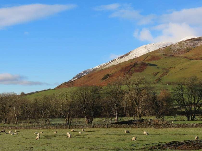Stunning view of snow-capped Blencathra   The Garth - Blakebeck Farm, Mungrisdale, near Threlkeld