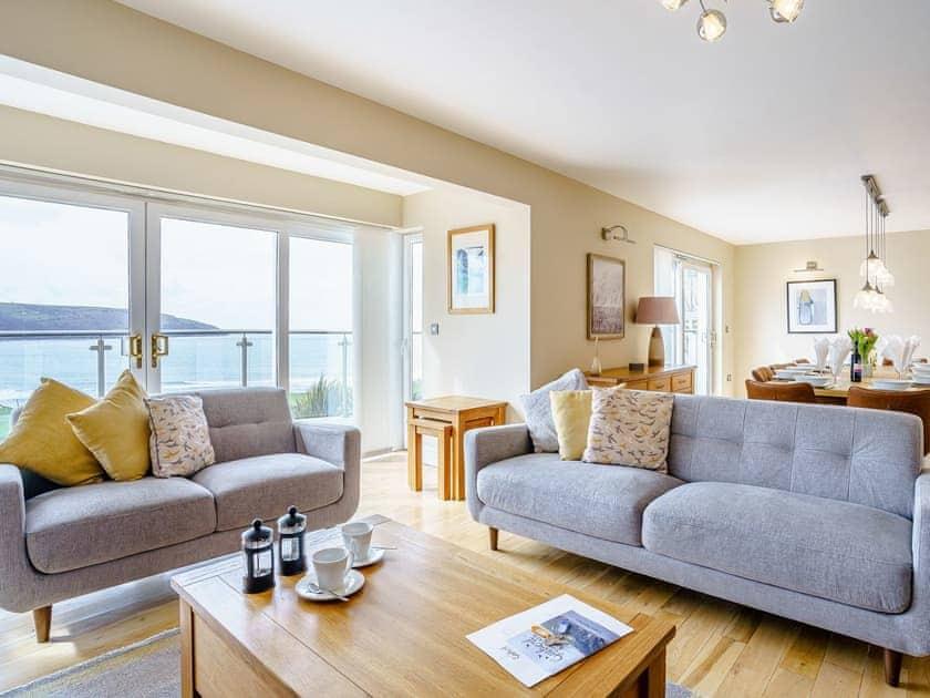 Open plan living space | LLyswen - Gwbert Holiday Cottages, Gwbert, near Cardigan