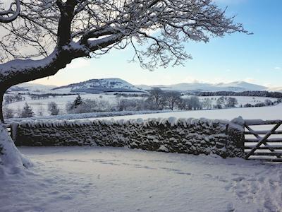 Surrounding fields after Winter snow fall | The Cruck Barn, Berrier