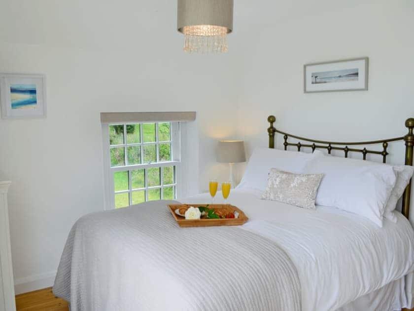 Impressive double bedroom boasting superb views over the valley | Lavender Cottage, Kea, near Truro
