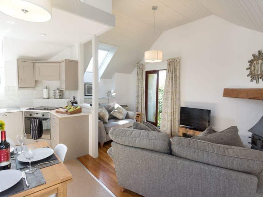 Open-plan upper floor living space   Stable Corner  - Lower Elsford Farm, Lustleigh, near Bovey Tracey