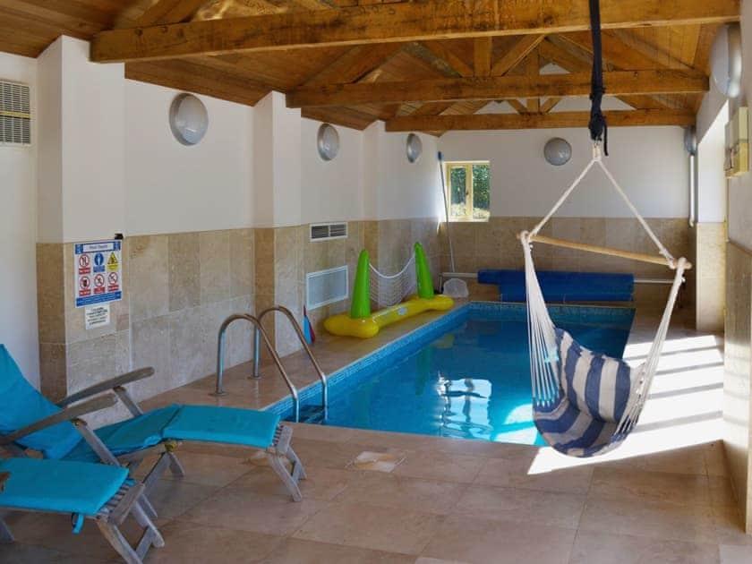 Indoor private heated swimming pool | Beer Farm, Waterrow, near Wiveliscombe