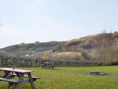 Lovely rural views from the lawned garden | Glyngynwydd Cottages and Wedding Barn, Glyngynwydd, near Llanidloes