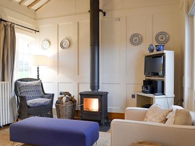 Cosy living area with wood-burner | Mill Barn - Collfryn Farm Cottages, Llansantffraid, near Oswestry