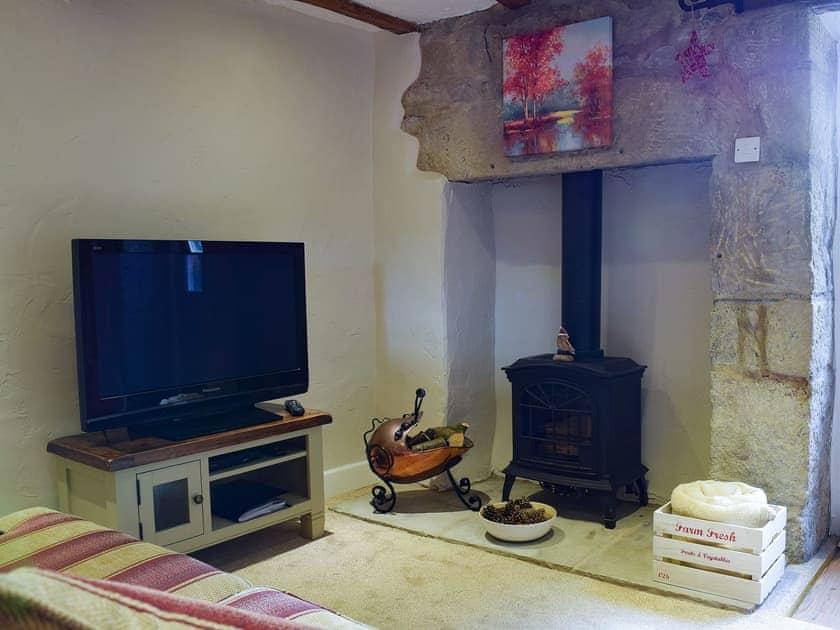 Cosy living room with ornamental wood burner | April Cottage - Spring Cottages, Settle