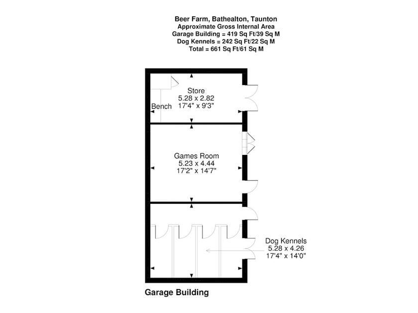Floor plan of garage building | Beer Farm, Waterrow, near Wiveliscombe