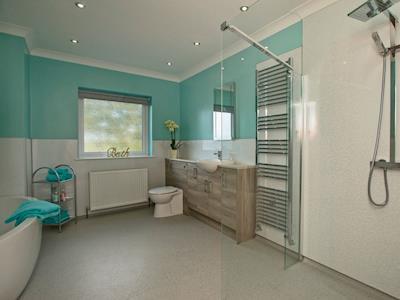 Bathroom with bath and walk-in shower   Quarter Acre House, Kirkcolm, near Stranraer
