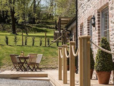 Sitting out area & garden | Wisteria Cottage , Pont-rhyd-y-groes, near Aberystwyth