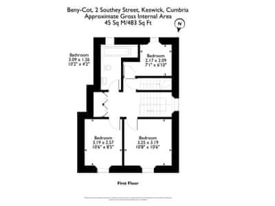 Floor plan of first floor | Beny-Cot, Keswick
