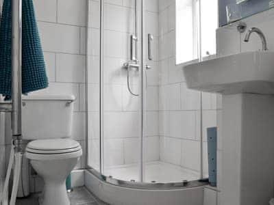 Shower room with heated towel rail | Cwmtwrch Cottage, Upper Cwmtwrch, near Ystradgynlais