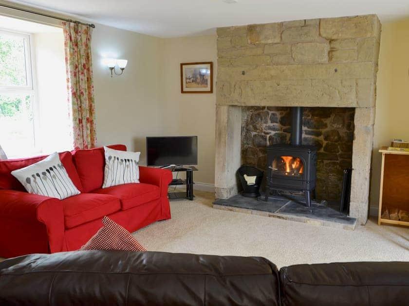 Spacious living room with wood burner | Holystone Estate - Squirrel Cottage - Holystone Estate, High Farnham, near Rothbury
