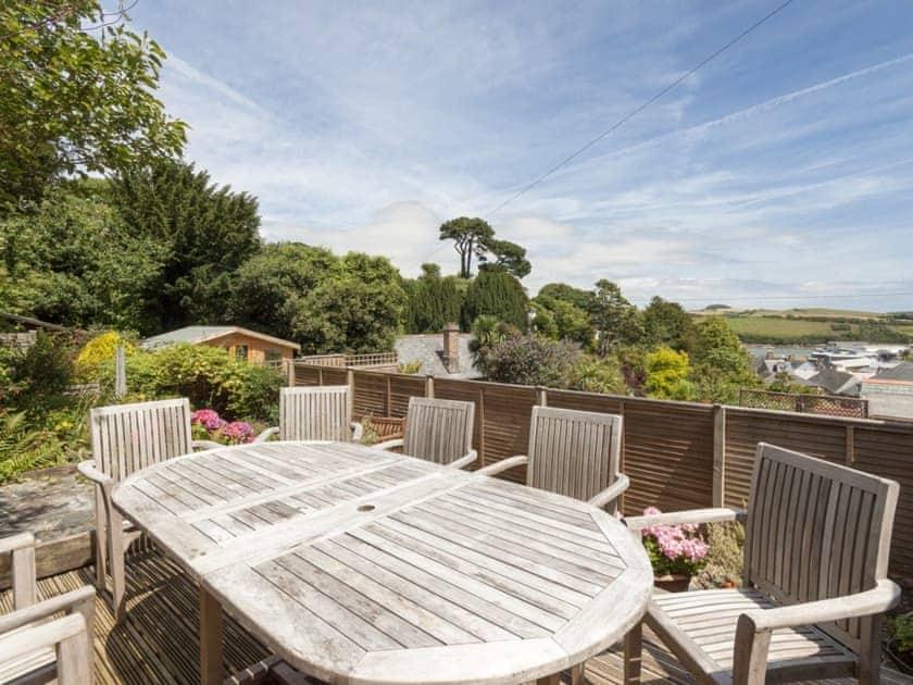 Pretty decked patio with furniture | Oakridge, Salcombe
