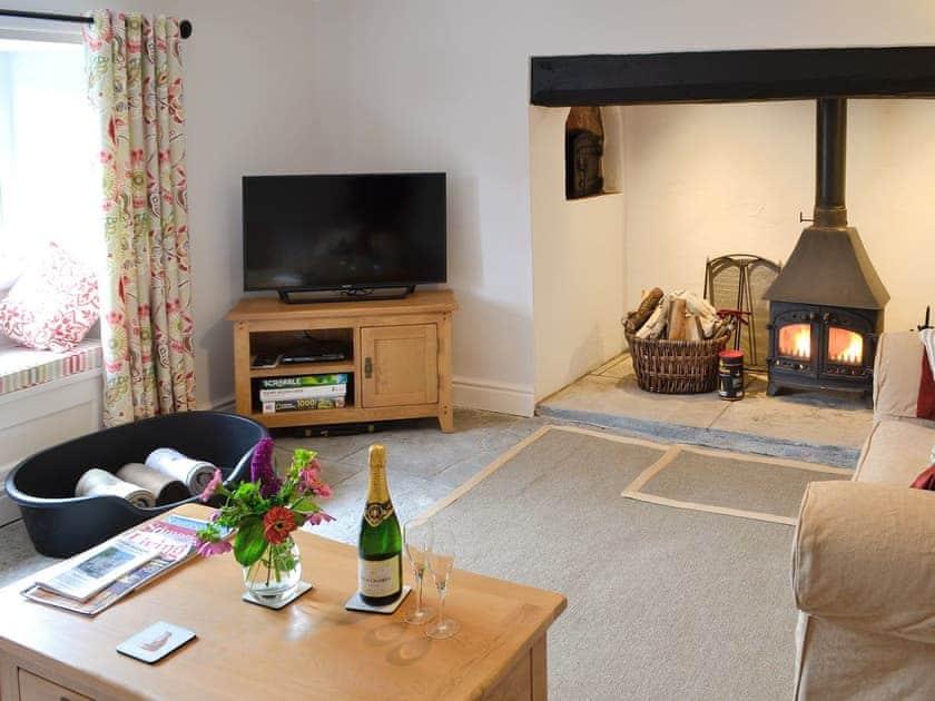 Well presented living room with wood burner | Dairy House Farm, Bickenhall, near Taunton