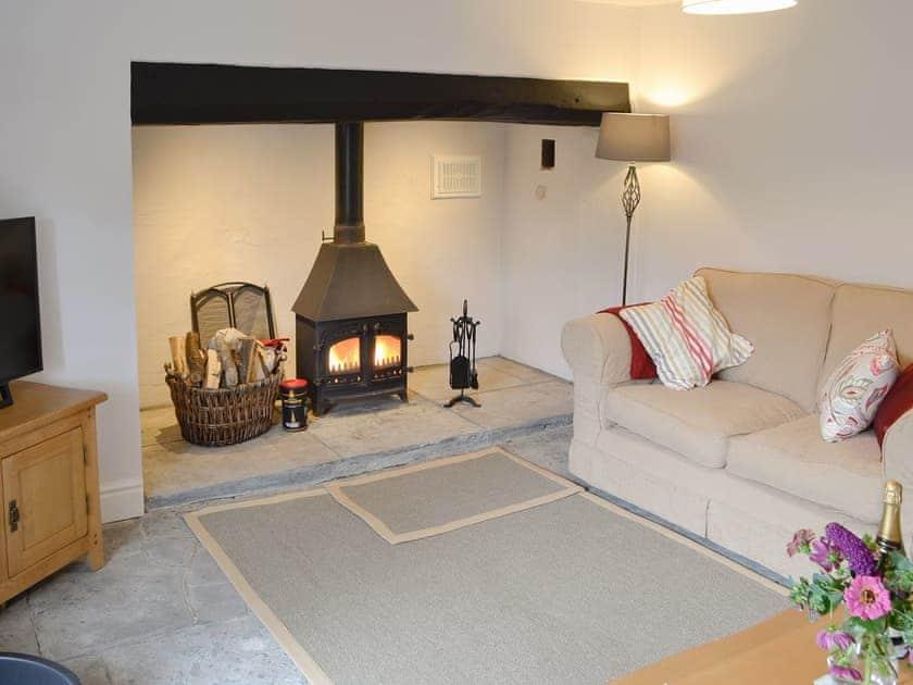 Comfortable living room with cosy wood burner | Dairy House Farm, Bickenhall, near Taunton