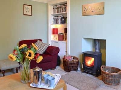 Cosy living room with wood burner | Faldonside, Peebles