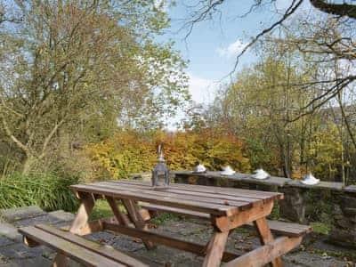 Patio with garden furniture   73 Sun Street, Haworth, near Keighley