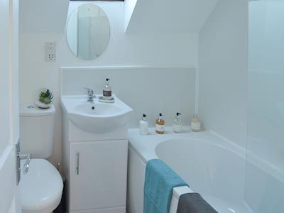 Charming bathroom with shower over the bath | Cockle Cottage, Flookburgh, near Cartmel