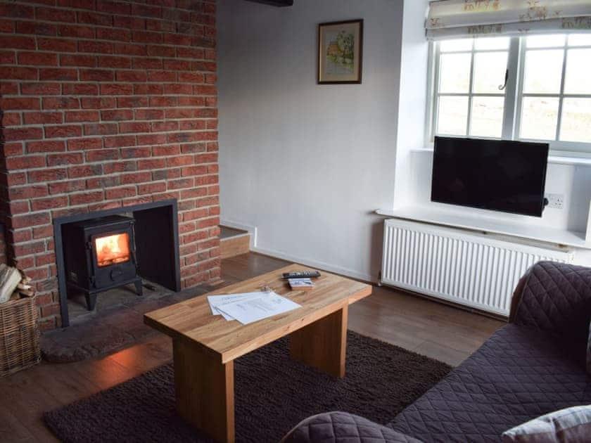 Living room with wood burner | Yew Tree Cottage, West Ayton, near Scarborough