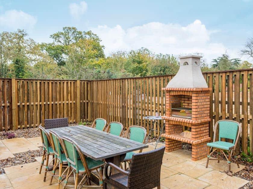 Patio with garden furniture | Cowslip Cottage - Swardeston Cottages, Swardeston, near Mulbarton