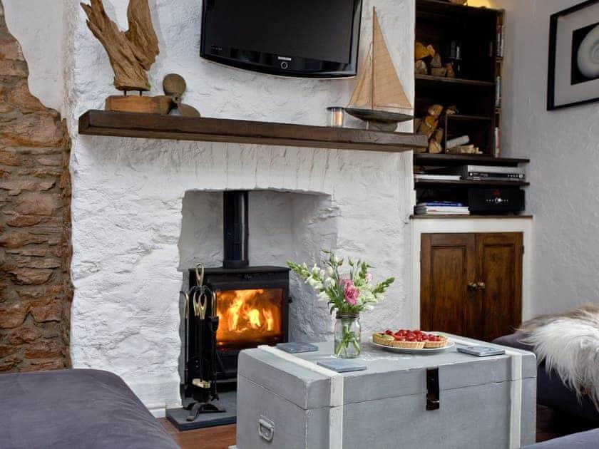 Cosy living area with wood burner   Fishlegs, Brixham