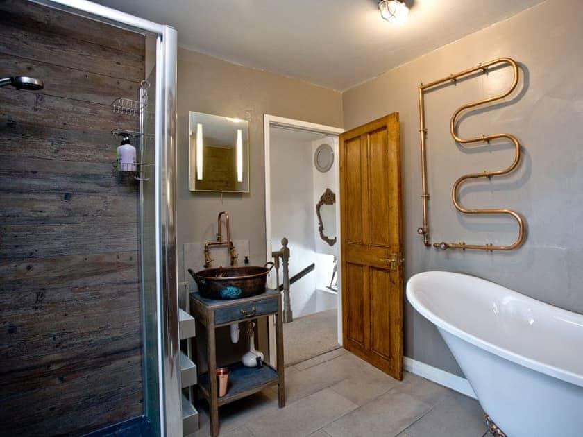 Stylish bathroom with roll top bath   Fishlegs, Brixham