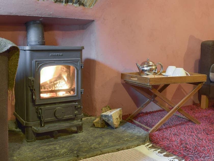 Warming wood burner within living room   2 Penrhiw, Abercych, near Newcastle Emlyn