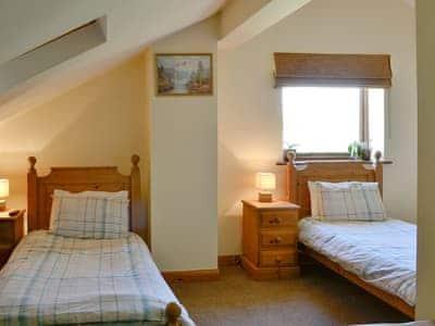 Spacious twin bedroom | Hutter Hill Barn West, Silsden near Skipton