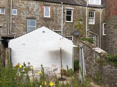 Courtyard garden and patio    Cochrane House, Kirkcudbright