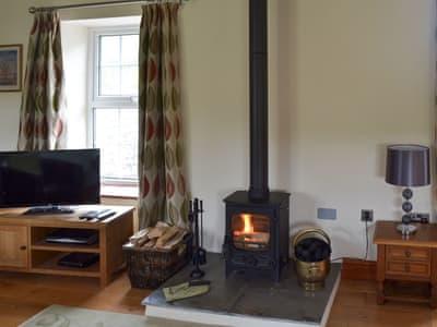 Living room with wood burner | Yew Tree Cottage, Crosby Garrett, near Kirkby Stephen