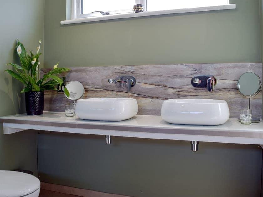 Bathroom with twin washbasins   Tranquillity - Dinas Country Club, Dinas, near Fishguard