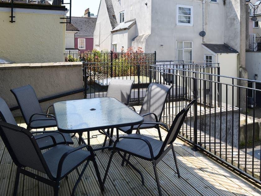 Enjoy an alfresco meal on the balcony | Bank Apartment 1, Dartmouth