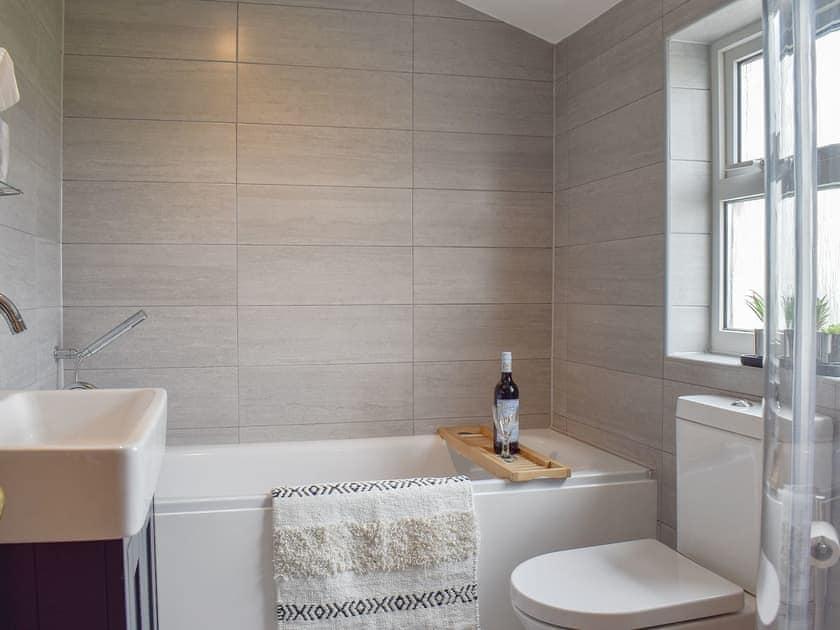 Modern bathroom with bath and separate shower cubicle   Pensarnau, Sarnau, near Tresaith