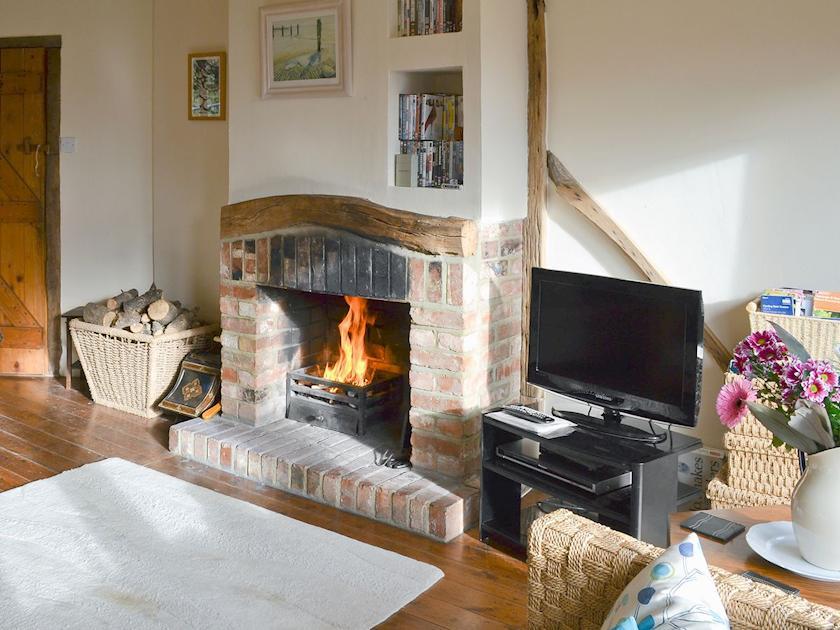 Living room with open fire | Infield, Pett